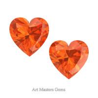 Art Masters Gems Set of Two Standard 1.0 Ct Heart Orange Sapphire Created Gemstones HCG100S-OS