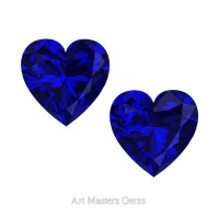 Set of Two Standard 1.5 Ct Heart Blue Sapphire Created Gemstones HCG150S-BS