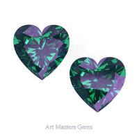 Art Masters Gems Set of Two Standard 1.5 Ct Heart Russian Alexandrite Created Gemstones HCG150S-RAL