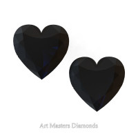 Art Masters Gems Set of Two Standard 2.0 Ct Heart Black Diamond Zirconium Created Gemstones HCG200S-BD