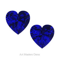 Art Masters Gems Set of Two Standard 2.0 Ct Heart Blue Sapphire Created Gemstones HCG200S-BS