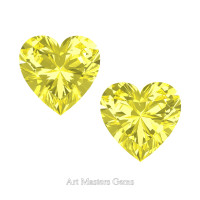 Art Masters Gems Set of Two Standard 2.0 Ct Heart Canary Yellow Sapphire Created Gemstones HCG200S-CYS