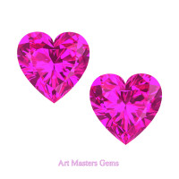 Art Masters Gems Set of Two Standard 2.0 Ct Heart Pink Sapphire Created Gemstones HCG200S-PS