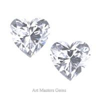 Art Masters Gems Set of Two Standard 2.0 Ct Heart White Sapphire Created Gemstones HCG200S-WS