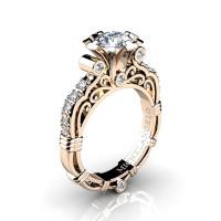 Art Masters Michelangelo 14K Rose Gold 1.0 Ct Certified Diamond Engagement Ring R723-14KRGCVVSD