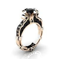 Art Masters Michelangelo 14K Two Tone Rose Gold 1.0 Ct Black Diamond Engagement Ring R723-14KRBGBD
