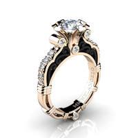 Art Masters Michelangelo 14K Two Tone Rose Gold 1.0 Ct White Sapphire Diamond Engagement Ring R723-14KRBGDWS