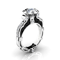 Art Masters Michelangelo 14K Two Tone White Gold 1.0 Ct White Sapphire Diamond Engagement Ring R723-14KWBGDWS