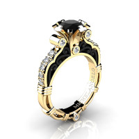 Art Masters Michelangelo 14K Two Tone Yellow Gold 1.0 Ct Black and White Diamond Engagement Ring R723-14KYBGDBD