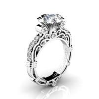 Art Masters Michelangelo 14K White Gold 1.0 Ct Certified Diamond Engagement Ring R723-14KWGCVVSD