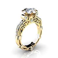 Art Masters Michelangelo 14K Yellow Gold 1.0 Ct Certified Diamond Engagement Ring R723-14KYGCVSD