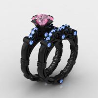 Art Masters Caravaggio 14K Black Gold 1.25 Ct Princess Light Pink and Blue Sapphire Engagement Ring Wedding Band Set R623PS-14KBGLBSLPS