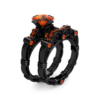 Art Masters Caravaggio 14K Black Gold 1.25 Ct Princess Orange Sapphire Engagement Ring Wedding Band Set R623PS-14KBGOS