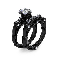 Art Masters Caravaggio 14K Black Gold 1.25 Ct Princess White Topaz Diamond Engagement Ring Wedding Band Set R623PS-14KBGDWT