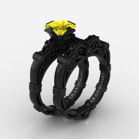 Art Masters Caravaggio 14K Black Gold 1.25 Ct Princess Yellow Sapphire Black Diamond Engagement Ring Wedding Band Set R623PS-14KBGBDYS