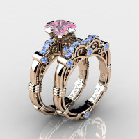 Art Masters Caravaggio 14K Rose Gold 1.25 Ct Princess Light Pink and Blue Sapphire Engagement Ring Wedding Band Set R623PS-14KRGLBSLPS