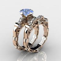 Art Masters Caravaggio 14K Rose Gold 1.25 Ct Princess Light Blue Sapphire Diamond Engagement Ring Wedding Band Set R623PS-14KRGDLBS