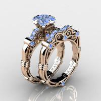 Art Masters Caravaggio 14K Rose Gold 1.25 Ct Princess Light Blue Sapphire Engagement Ring Wedding Band Set R623PS-14KRGLBS