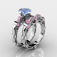 Art Masters Caravaggio 14K White Gold 1.25 Ct Princess Light Blue and Pink Sapphire Engagement Ring Wedding Band Set R623PS-14KWGLPSLBS