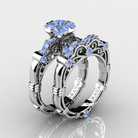 Art Masters Caravaggio 14K White Gold 1.25 Ct Princess Light Blue Sapphire Engagement Ring Wedding Band Set R623PS-14KWGLBS