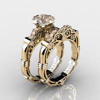 Art Masters Caravaggio 14K Yellow Gold 1.25 Ct Princess Champagne Diamond Engagement Ring Wedding Band Set R623PS-14KYGCHD