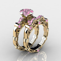 Art Masters Caravaggio 14K Yellow Gold 1.25 Ct Princess Light Pink Sapphire Engagement Ring Wedding Band Set R623PS-14KYGLPS