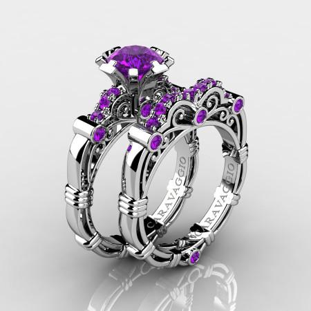 Art-Masters-Caravaggio-10K-White-Gold-1-0-Ct-Amethyst-Engagement-Ring-Wedding-Band-Set-R623S-10KWGAM-P