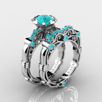 Art Masters Caravaggio 10K White Gold 1.0 Ct Blue Diamond Engagement Ring Wedding Band Set R623S-10KWGBLD