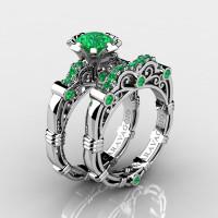Art Masters Caravaggio 10K White Gold 1.0 Ct Emerald Engagement Ring Wedding Band Set R623S-10KWGEM