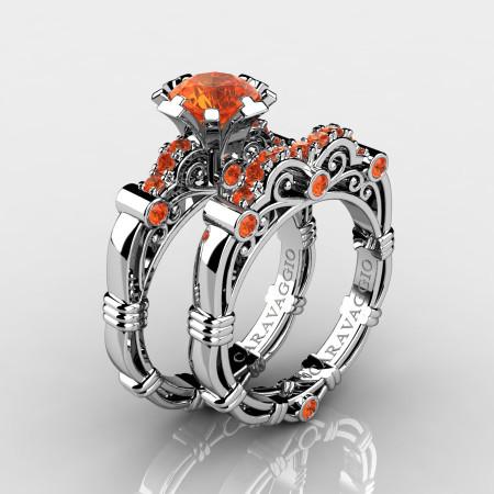 Art-Masters-Caravaggio-10K-White-Gold-1-0-Ct-Orange-Sapphire-Engagement-Ring-Wedding-Band-Set-R623S-10KWGOS-P