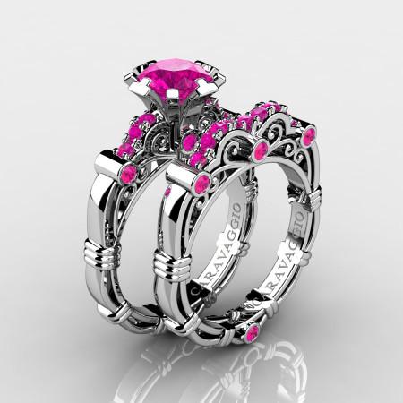 Art-Masters-Caravaggio-10K-White-Gold-1-0-Ct-Pink-Sapphire-Engagement-Ring-Wedding-Band-Set-R623S-10KWGPS-P