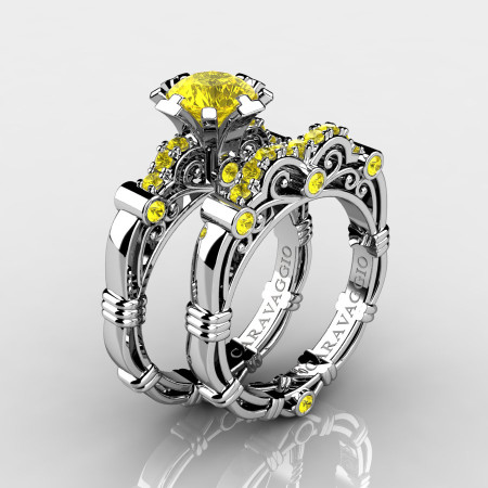 Art-Masters-Caravaggio-10K-White-Gold-1-0-Ct-Yellow-Sapphire-Engagement-Ring-Wedding-Band-Set-R623S-10KWGYS-P