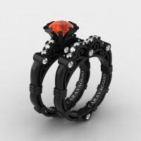 Art Masters Caravaggio 14K Black Gold 1.0 Ct Padparadscha Sapphire Diamond Engagement Ring Wedding Band Set R623S-14KBGDPA