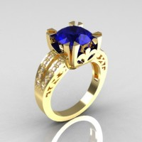Modern Vintage 14K Yellow Gold 3.0 Ct Blue Sapphire Diamond Solitaire Ring R102-14KYGDBS