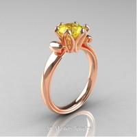 Antique 14K Rose Gold 1.5 CT Yellow Sapphire Engagement Ring AR127-14KRGYS