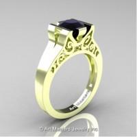 Modern Art Deco 14K Green Gold 1.0 Ct Black Diamond Engagement Ring R36N-14KGRGBD