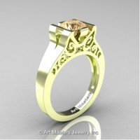 Modern Art Deco 14K Green Gold 1.0 Ct Champagne Diamond Engagement Ring R36N-14KGRGCHD