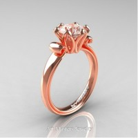 Antique 14K Rose Gold 1.5 Ct Morganite Solitaire Engagement Ring AR127-14KRGMO