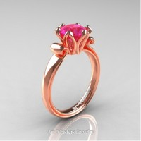 Antique 14K Rose Gold 1.5 CT Pink Sapphire Engagement Ring AR127-14KRGPS