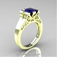 Modern Art Deco 14K Green Gold 1.0 Ct Blue Sapphire Engagement Ring R36N-14KGRGBS