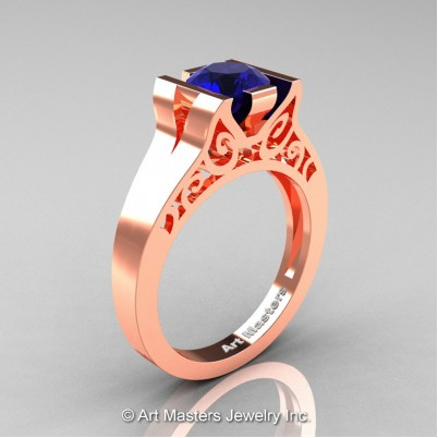 Art-Masters-Modern-Classic-14K-Rose-Gold-1-Ct-Blue-Sapphire-Engagement-Ring-R36N-14KRGBS-P-402×402