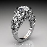 Art Masters Nature Inspired 14K White Gold 3.0 Ct White Sapphire Diamond Engagement Ring R299-14KWGDWS