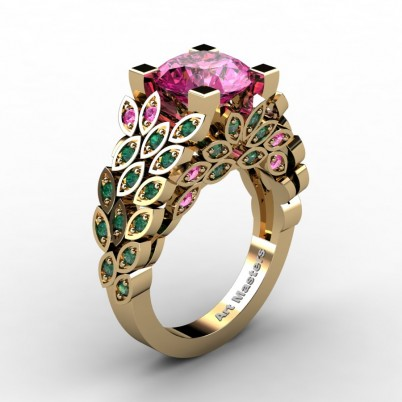 Art-Masters-Nature-Inspired-14K-Yellow-Gold-3-Ct-Pink-Sapphire-Emerald-Engagement-Ring-Wedding-Ring-R299-14KYGEMPS-P-402×402