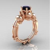 Art Masters Three Skull 14K Rose Gold 1.0 Ct Black Diamond Engagement Ring R513-14KRGBD