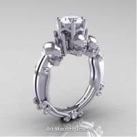 Art Masters Three Skull 14K White Gold 1.0 Ct White Sapphire Engagement Ring R513-14KWGWS