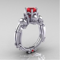 Art Masters Three Skull 14K White Gold 1.0 Ct Ruby Engagement Ring R513-14KWGR