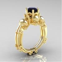 Art Masters Three Skull 14K Yellow Gold 1.0 Ct Black Diamond Engagement Ring R513-14KYGBD