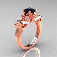 Classic 14K Rose Gold 1.0 Ct Black and White Diamond Solitaire Engagement Ring R323-14KRGDBD