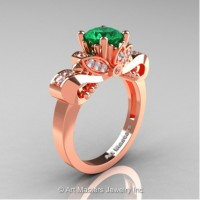 Classic 14K Rose Gold 1.0 Ct Emerald White Diamond Solitaire Engagement Ring R323-14KRGDEM