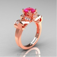 Classic 14K Rose Gold 1.0 Ct Pink Sapphire White Diamond Solitaire Engagement Ring R323-14KRGDPS